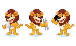 Lion Mascot Vector avec l'ordinateur portable Photos libres de droits