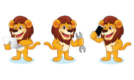 Lion Mascot Vector with laptop Royalty Free Stock Photos