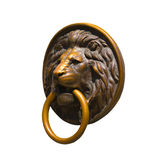 Lion Medalion d'or et en bronze d'isolement Images libres de droits