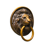 Lion Medalion d'or et en bronze d'isolement Photos libres de droits