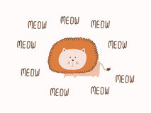 Lion meow Card. Vector illustration Royalty Free Stock Photography