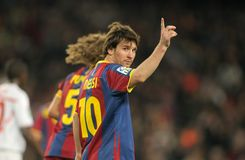 Lion Messi de FC Barcelone Images libres de droits