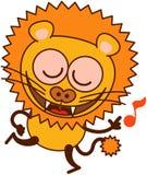 Lion mignon dansant et chantant avec enthousiasme Image stock