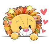 Lion mignon de bande dessinée avec des coeurs illustration stock