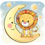 Lion mignon de bande dessinée sur la lune Photos stock