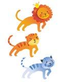 Lion mignon de dessin animé, tigre, chat Photo libre de droits