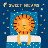 Lion mignon de sommeil illustration stock