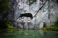 Lion Monument Lewendenkmal, Lucerna, Svizzera immagine stock libera da diritti