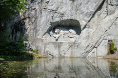 The Lion Monument or the Lion of Lucerne, in Lucerne, Switzerlan Stock Image