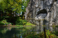 The Lion monument, or Lion of Lucerne in Lucerne Switzerland. Stock Photos