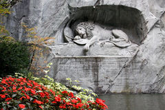 LION MONUMENT IN LUCERNE. Stock Image