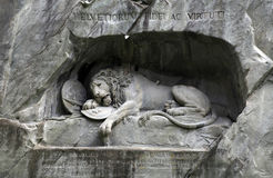 Lion Monument (Löwendenkmal) in park (Lucerne, Switzerland), Royalty Free Stock Images