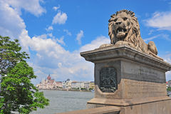 Lion monument and skyline of Budapest Stock Image