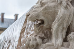 Lion monument. Water cascade and monument/lion monument/stone monument Royalty Free Stock Images