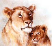 Lion Mother And Lion Cub, Painting On Paper. With Spots Abstract Background Royalty Free Stock Image