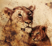Lion Mother And Lion Cub, Painting On Paper. With Spots Abstract Background, Rust Structure And Old Vintage Style Stock Photo