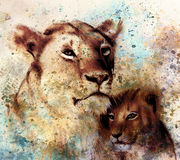 Lion mother and lion cub, painting on paper. with spots abstract background, rust structure and old vintage style Stock Photos