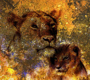 Lion mother and lion cub, painting on paper. with spots abstract background, rust structure and old vintage style Royalty Free Stock Photos