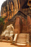 The Lion Mountain. Lion Mountain is a famous rock fortress in Sigiriya, Sri Lanka, were in ancient times King Kasyapa was hiding Royalty Free Stock Image