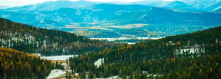 Lion Mountain Trail Scenic Overlook. A view from on top of Lion Mountain Trail in Whitefish, Montana stock photos