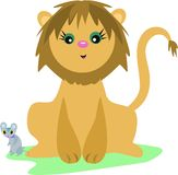 Lion and Mouse Friends Royalty Free Stock Photography