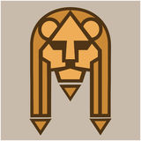 Lion muzzle. Stylized image of lion s head. Isolated object. Vector illustrations. Royalty Free Stock Image