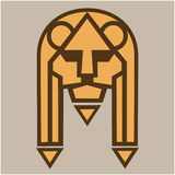 Lion muzzle. Stylized image of lion s head. Isolated object. Vector illustrations. Stock Photo
