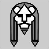 Lion muzzle. Stylized image of lion s head. Isolated object. Vector illustrations. Stock Images