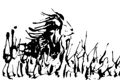 Lion on nature hand drawing silhouette isolated on a white backg Royalty Free Stock Images