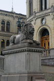 Lion near Norwegian Parliament Stock Photos