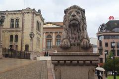 Lion of Norwegian Parliament Stock Photos