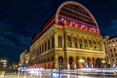Lion opery budynek w noc z lightpainting obraz stock