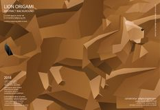 Lion Origami Abstract Background Immagini Stock Libere da Diritti