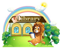 A lion outside a library Royalty Free Stock Image