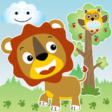 Lion and owl. Are friend in jungle life, vector cartoon illustration. EPS 10 Stock Images