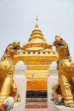 Lion and Pagoda Royalty Free Stock Photography