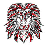 Lion painted in ethnic style. Indian / African style . Sketch of tattoo or print on a T-shirt  Royalty Free Stock Photography