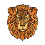 Lion painted tribal ethnic ornament. Hand drawn vector illustration with floral elements Stock Image