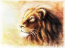 Lion painting  fractal filtered image of a lion Royalty Free Stock Photo