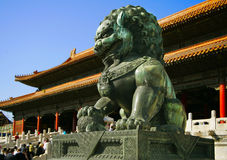 Lion -  in palace Gugun in Begin. Lion  - the sculpture to be in palace gugun in Begin. it is palace of the chinese emperor it to be in the centre of Begin Royalty Free Stock Photography