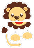 Lion paper puppet. Paper puppet for cut it out and play Royalty Free Stock Photo
