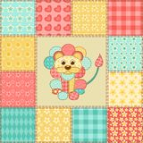 Lion patchwork pattern Stock Photos