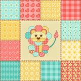 Lion patchwork pattern Royalty Free Stock Photo