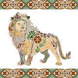 Lion pattern made from flowers, leaves Stock Photo