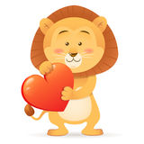 Lion pet  holding heart Stock Photography