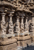 Lion pillars in ancient Hindu temple of the Pallavas, Kanchipuram India Royalty Free Stock Photography