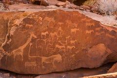 Lion Plate met Lion Man en andere gravures van de Bosjesman voorhistorische rots in Twyfelfontein royalty-vrije stock afbeelding