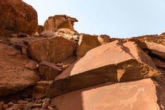 Lion Plate mit Lion Man und andere prähistorische Felsgravierungen des Buschmanns bei Twyfelfontein Stockbilder