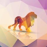 Lion polygonal géométrique, conception de modèle Images libres de droits