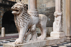 Lion on the porch of the Santa Maria Maggiore Cathedral in Bergamo, Italy Royalty Free Stock Images